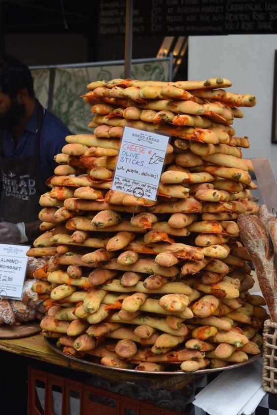 Cheese olive sticks in borough market, London