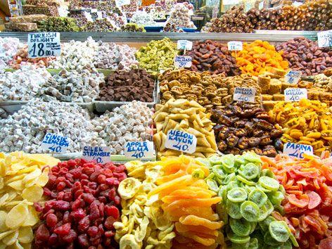 dried fruit in spice bazaar Istanbul