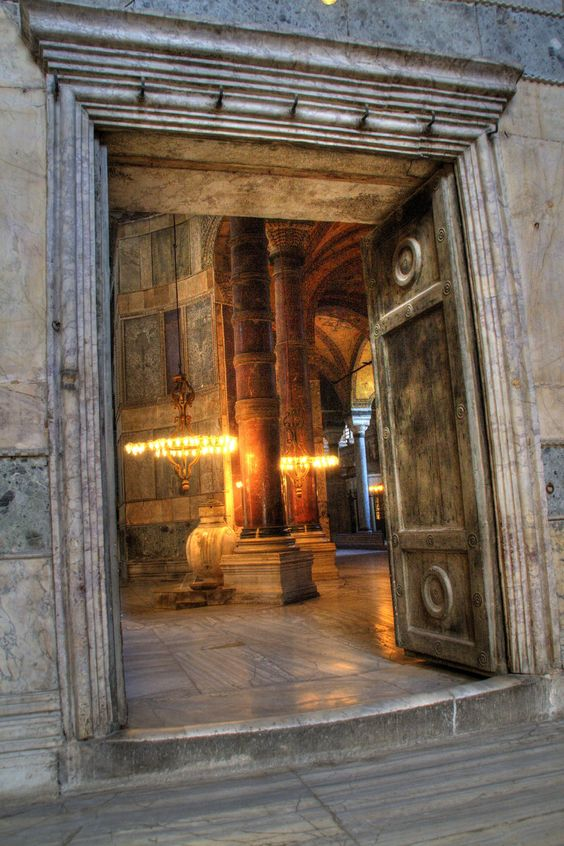 the first entrance giant marble flooring Hagia Sophia