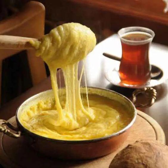 Turkish cheese cornmeal Kuymak