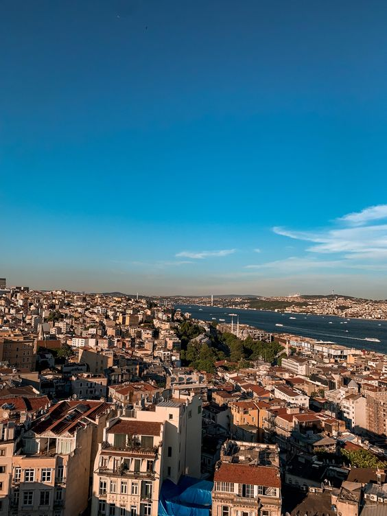 panoramic view over the top Galata Tower