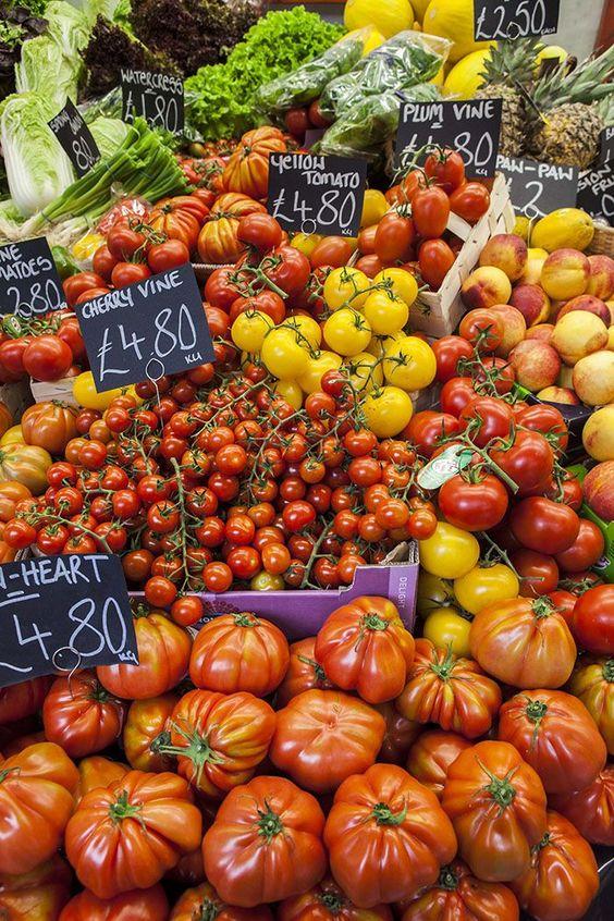 fresh produce in borough market, London