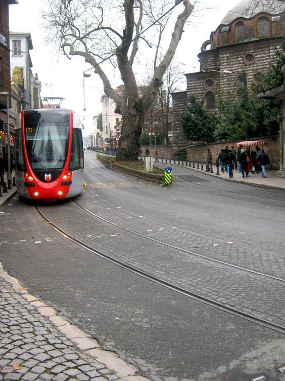 Istanbul public transportation tram way