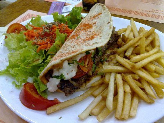 doner kebab served with fries