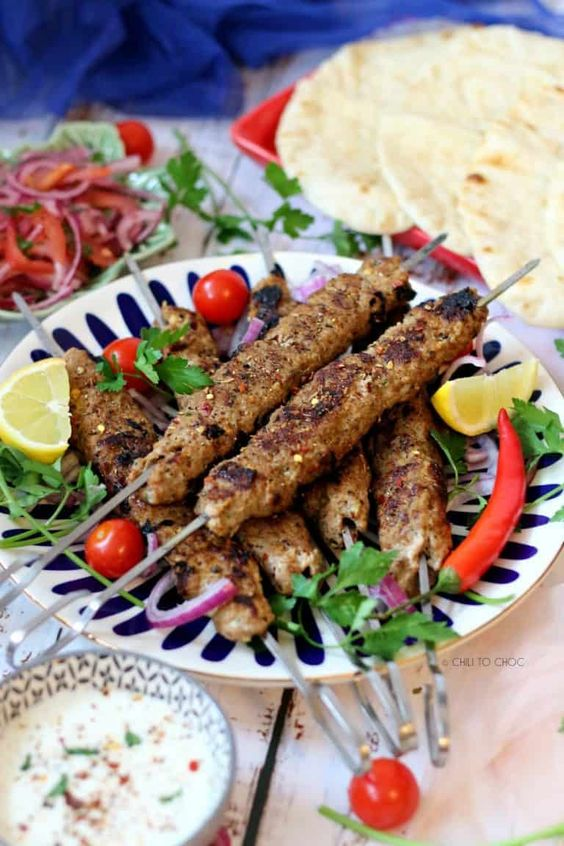 The beautiful platter of Adana kebab style