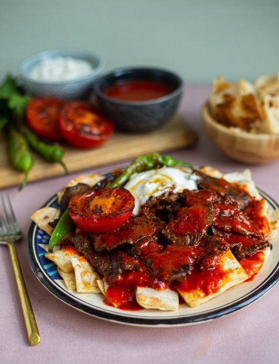 deliscious Turkish food Iskender kebab