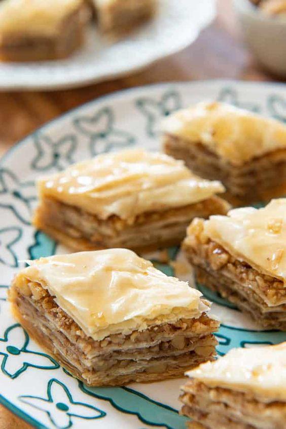 walnut baklava turkish food and dessert
