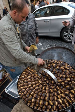 Austrian street food roasted chestnut Maroni