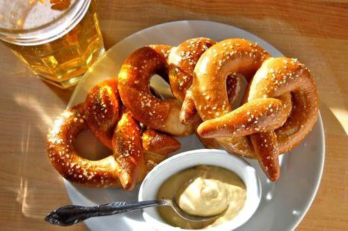 pretzel in beer garden, Salzburg