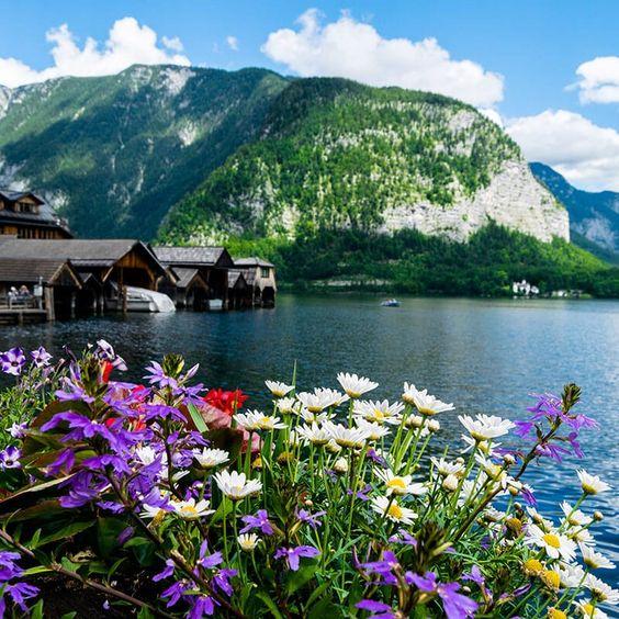 beautiful Hallstatt view in spring
