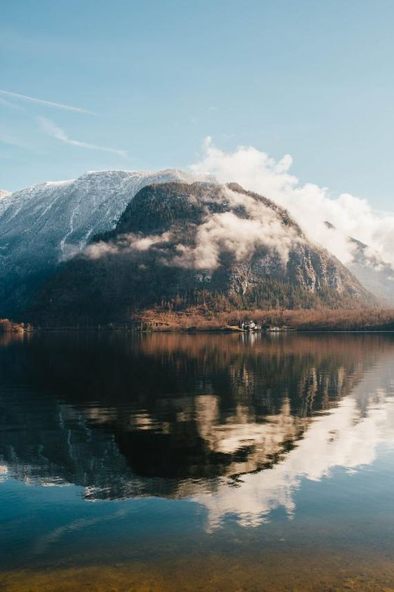 the great reflection on the lake of Hallstatt