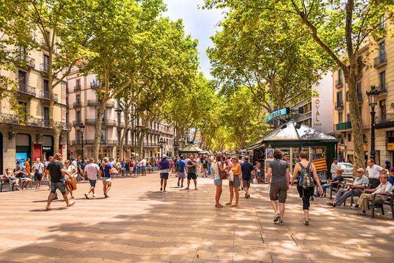La Rambla, the famous street in Barcelona